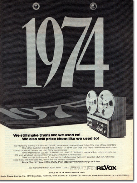 picture of ReVox ad from 1977