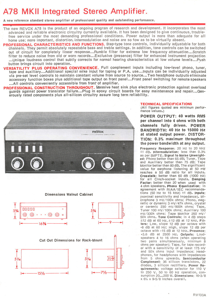 1977 brochure profiling the ReVox A77 MK IV, the ReVox A76 Tuner and the A78 Amplifier in Phantom Productiona' vintage recording collection