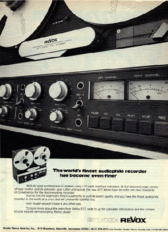 1977 ad for the ReVox B77 professional reel to reel tape recorder in Reel2ReelTexas.com's vintage recording collection