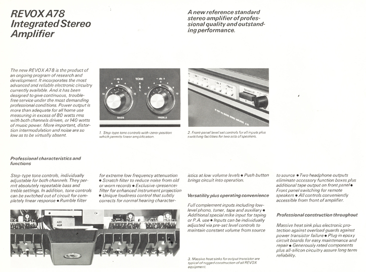 Revox A76, A77 and A78 brochure in Reel2ReelTexas.com vintage reel to reel tape recorder collection