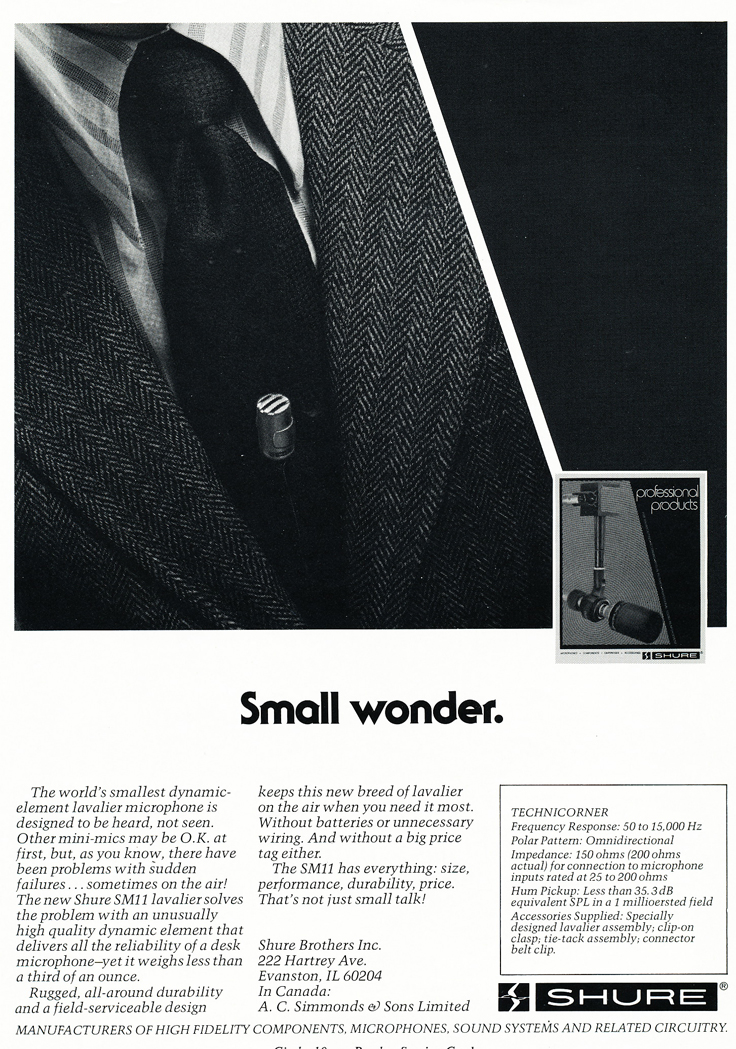 1977 ad for the Shure professional line of microphones in Reel2ReelTexas.com's vintage recording collection