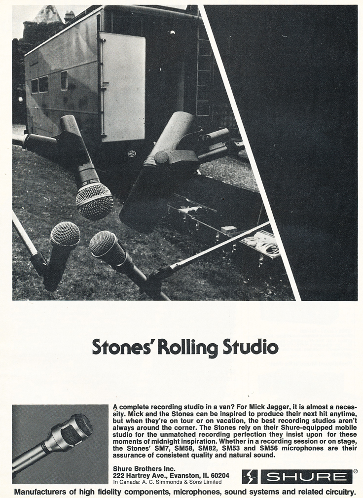 1977 ad for the Shure professional line of microphones featuring the Rolling Stones mobile recording van  in Reel2ReelTexas.com's vintage recording collection