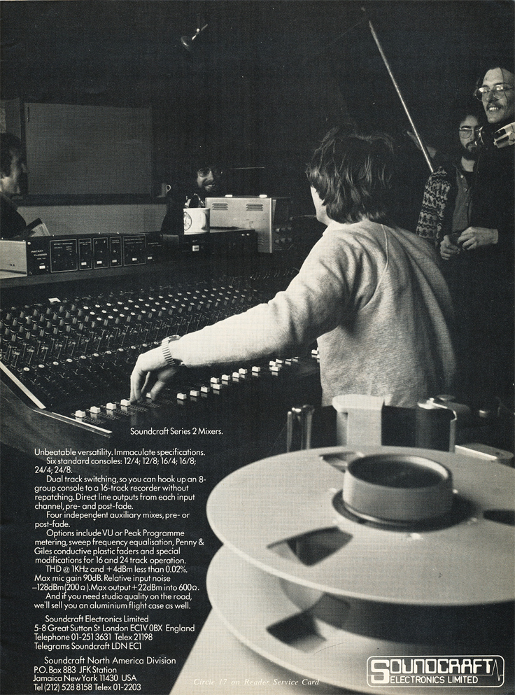 1977 ad for Soundcraft in Reel2ReelTexas.com's vintage recording collection