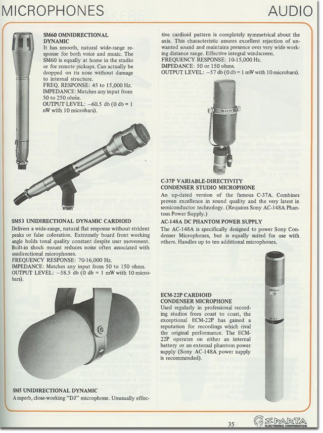 1974 Sparta Electronics catalog showing microphones available from the company in Reel2ReelTexas.com's vintage recording collection