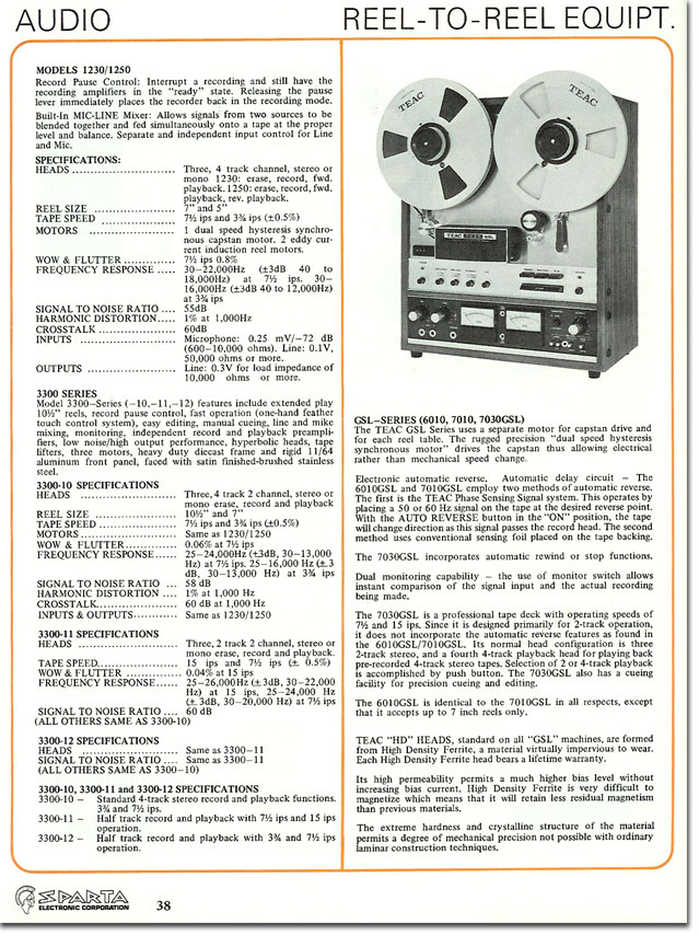 Teac 7030 in 1977 Sparta broadcast catalog in Reel2ReelTexas.com's vintage recording collection