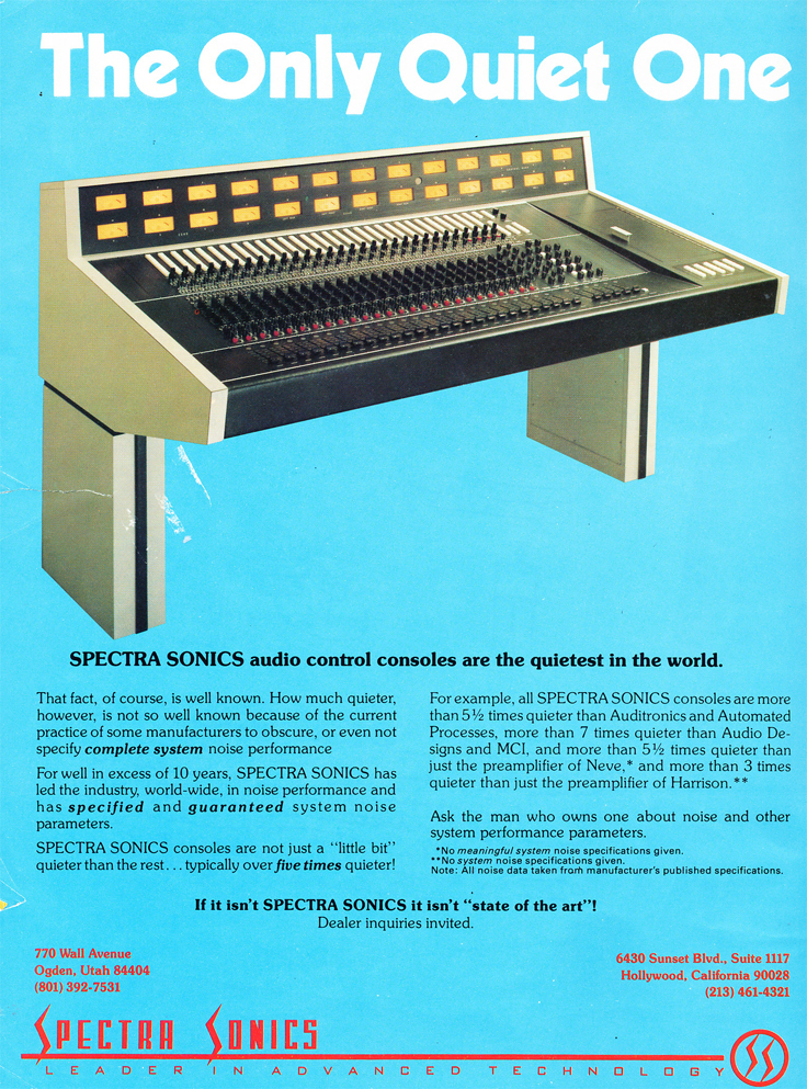 1977 ad for Spectra Sonic consoles in phantom Productions' vintage recording collection