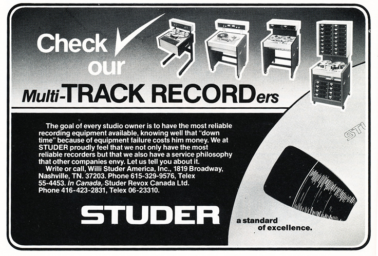 1977 ad for Studer professional reel to reel tape recorders  in Reel2ReelTexas.com's vintage recording collection