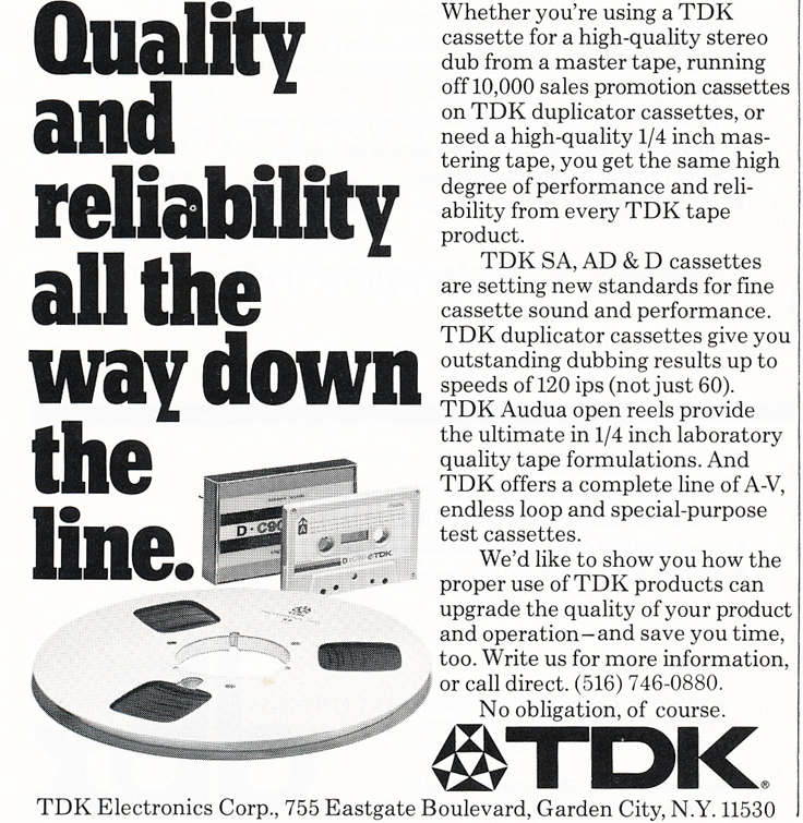 1977 TDK recording tape  ad in Reel2ReelTexas.com's vintage recording collection