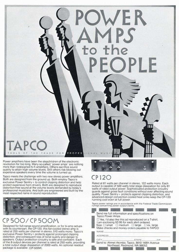 1977 Tapco ad in Reel2ReelTexas.com's vintage recording collection