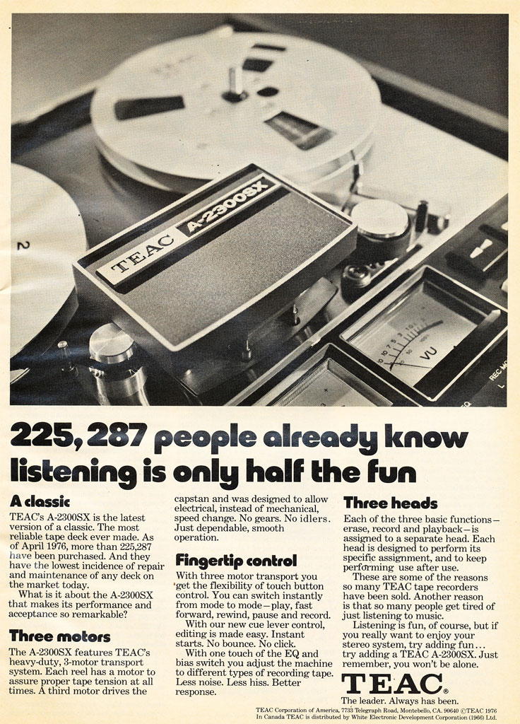 1973 ad for the Teac A-2300 reel to reel tape recorder in Reel2ReelTexas.com's vintage recording collection