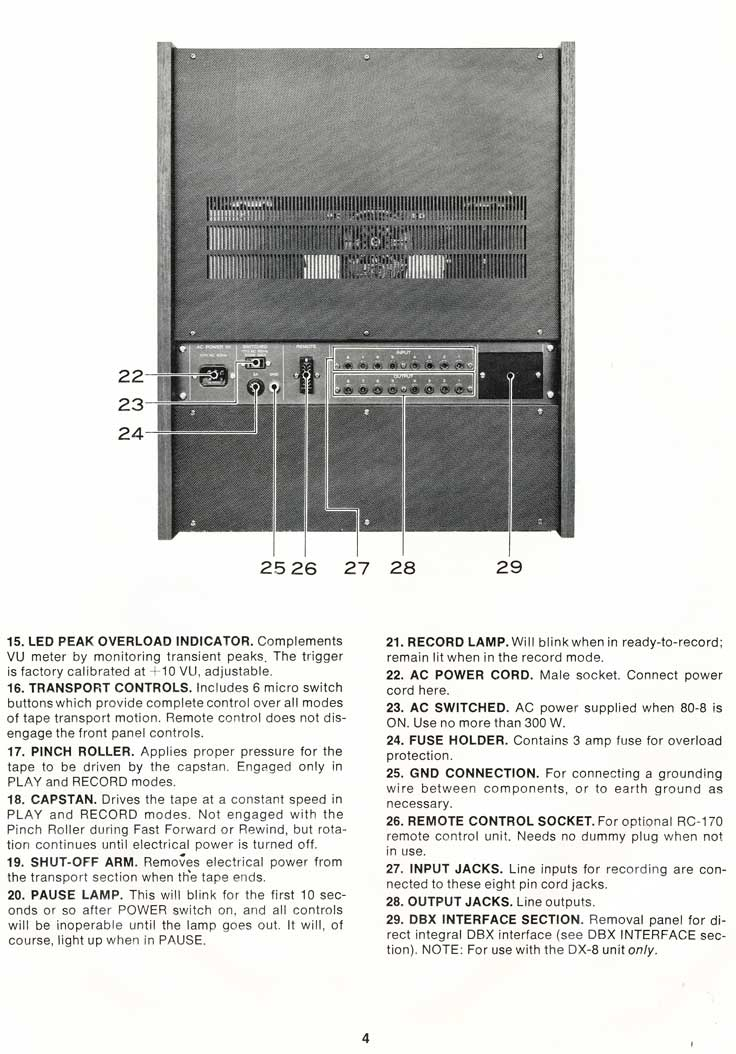 "1977 Teac Tascam Model 80-8 8 track 1/2"" reel tape recorder manual in Reel2ReelTexas.com's vintage recording collection"