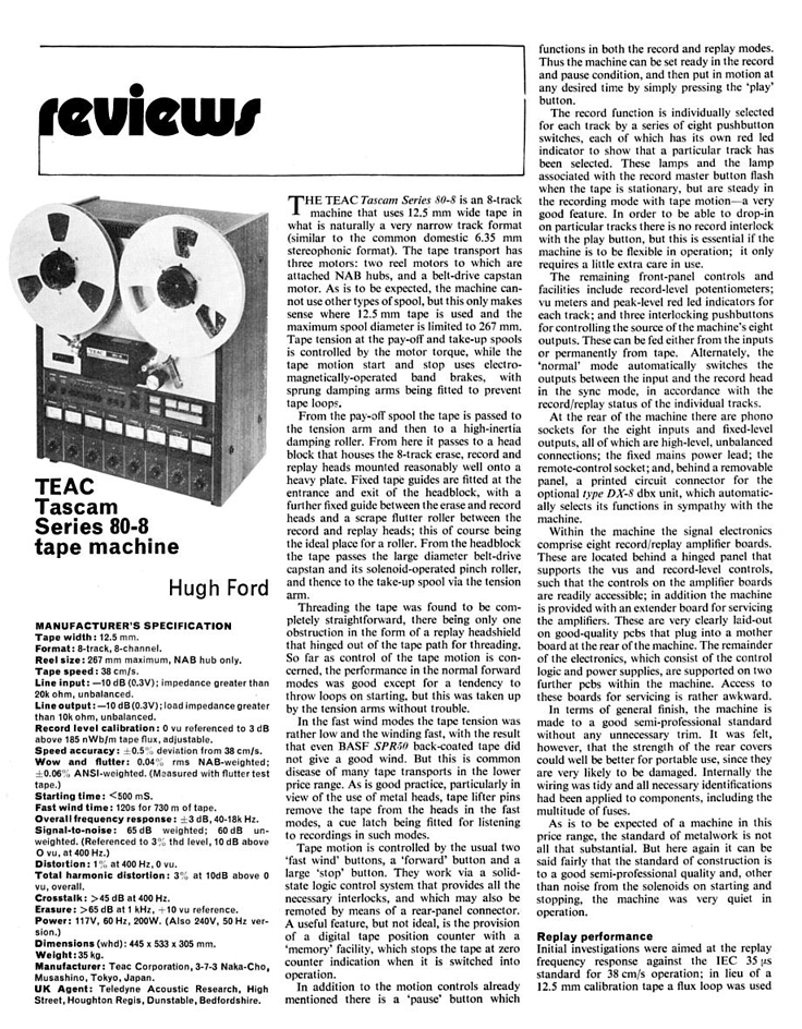 "1977 review of the Teac 80-0 8 track reel to reel 1/2"" tape recorder in Reel2ReelTexas.com's vintage recording collection"