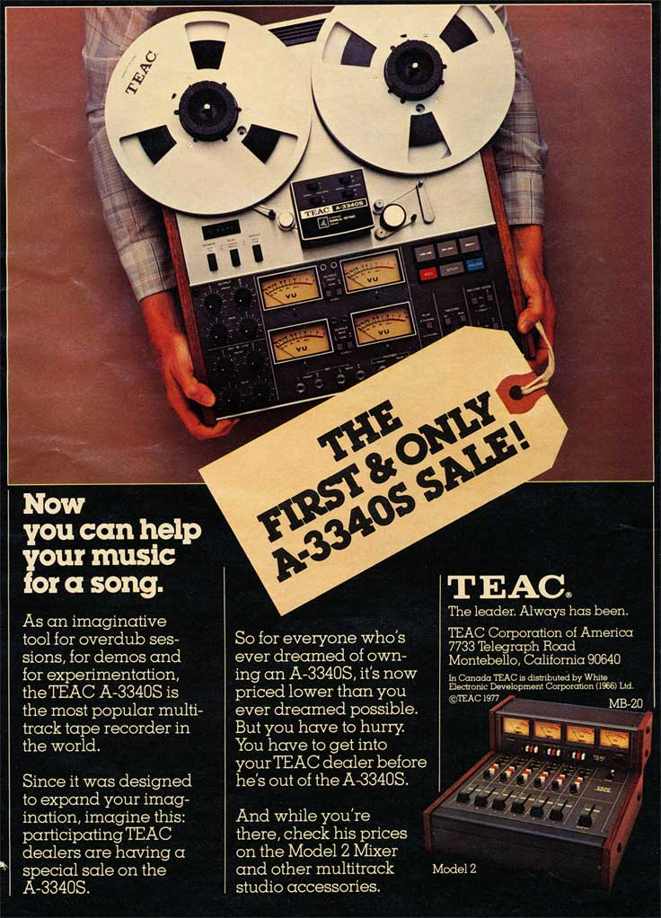 1978 Teac A-3340S and Model 2 Mixer sale in Phantom Productions, Inc.'s vintage recording collection