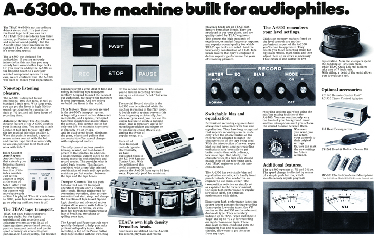 Ad for the Teac A-6300 reel tape recorder in Phantom Productions' reel tape recorder collection
