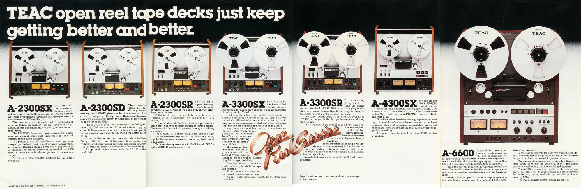 picture of 1977 Teac reel tape recorder brochure