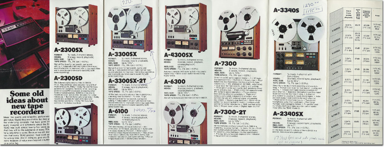 1977 March Teac brochure featuring the A-2300SX, A-2300SD, A-3300SX, A3300SX-2T, A-6100, A-7300, A-7300-2T, A-3340S and the A-2340X in Reel2ReelTexas.com's vintage recording collection