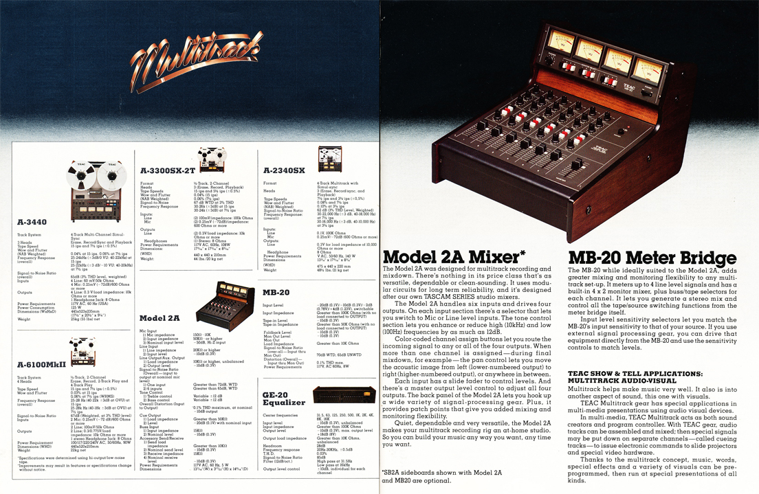 1977 Teac Multitrack brochure featuring the Teac A-3440, Teac A-2340SX, Teac A-6100Mk II, Teac A-3300SX-2T professionall reel to reel tape recorders and the Teac GE-20 Equializer and the Teac Model 2A mixer with the Teac MB-20 meter bridge in the Reel2ReelTexas.com's vintage recording collection