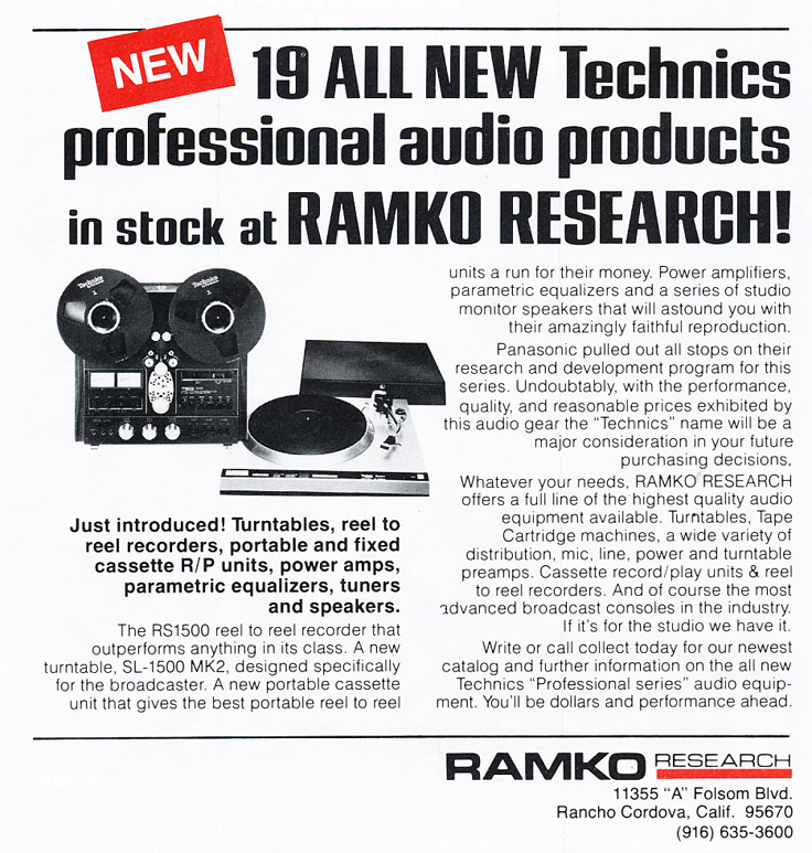 1977 ad by Ramko featuring Technics products in Reel2ReelTexas.com's vintage recording collection