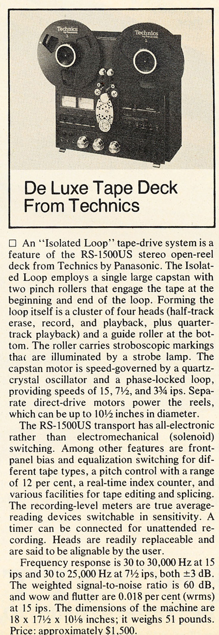 1977 review profiling the Technics RS-1500 reel to reel tape recorder in Reel2ReelTexas.com's vintage recording collection