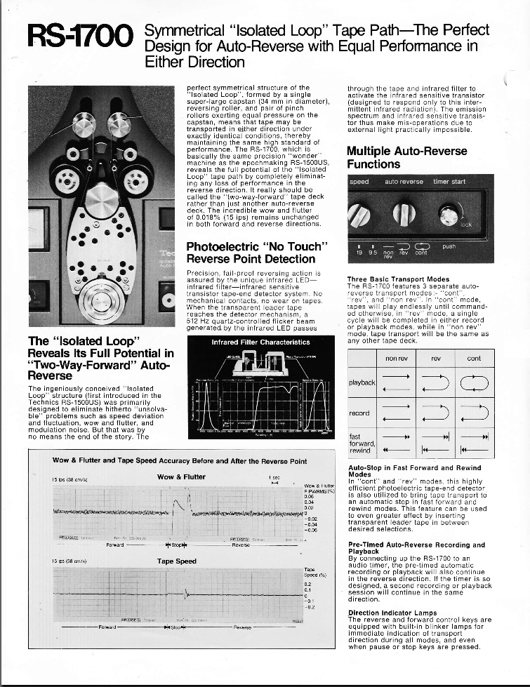 1977 brochure profiling the Technics Rs-1700 reel to reel tape recorder in Reel2ReelTexas.com's vintage recording collection
