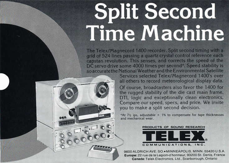 1977 Telex ad for their professional reel to reel telex Magnecord tape recorders in the Reel2ReelTexas.com's vintage recording collection
