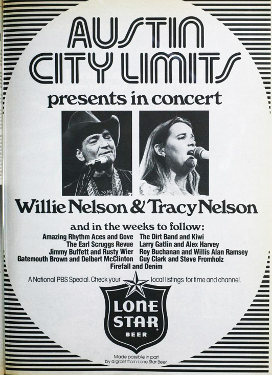 1977 ad for the Austin City Limits featuring Willie and Tracy Nelson in Reel2ReelTexas.com's vintage recording collection