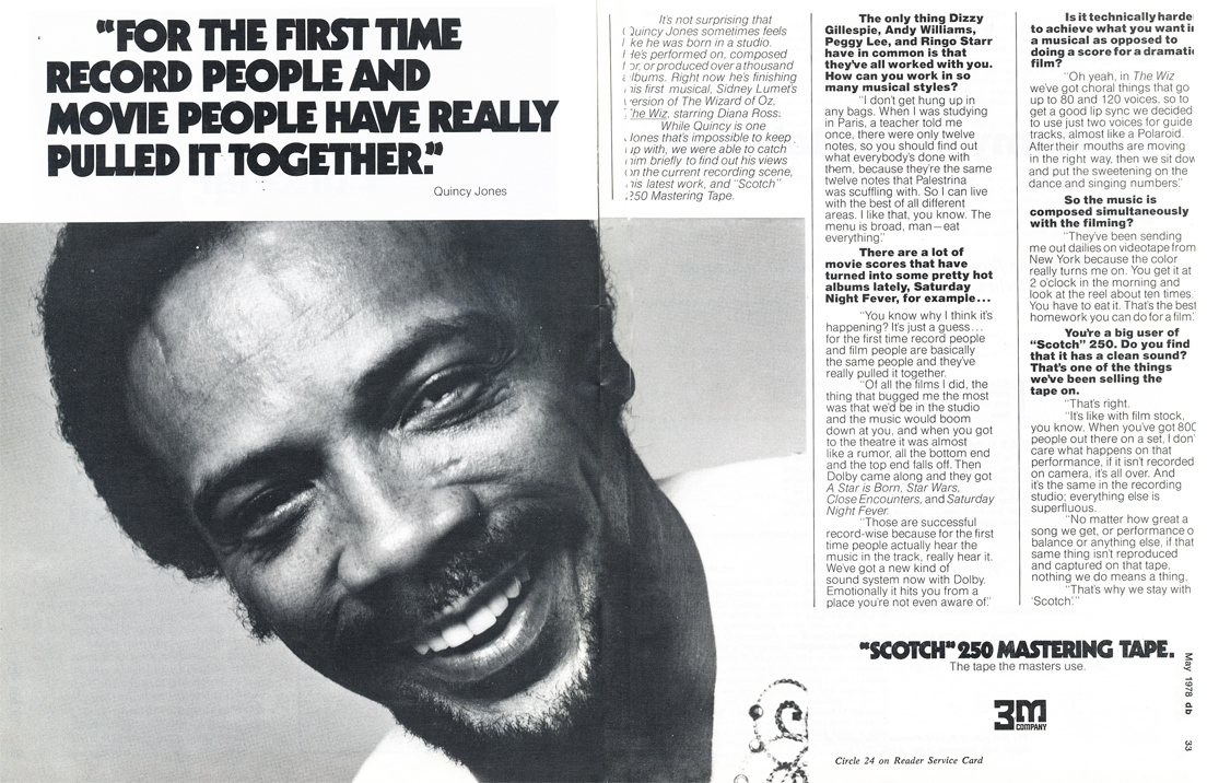 1978 ad for 3m Scotch 250 reel recording tape featuring Quincy Jones in Phantom Productions' vintage rceording collection