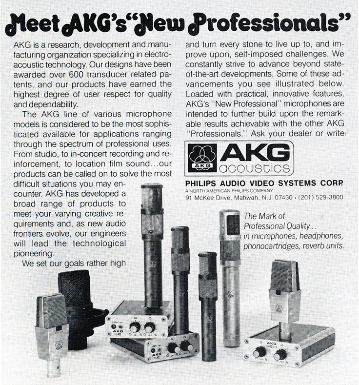 1978 ad for AKG microphones in Reel2ReelTexas.com's vintage recording collection