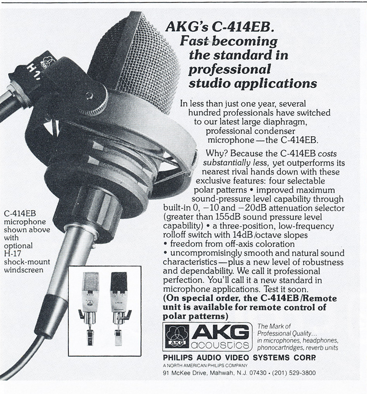 1978 ad for the AKG C414EB microphone in Reel2ReelTexas.com's vintage recording collection