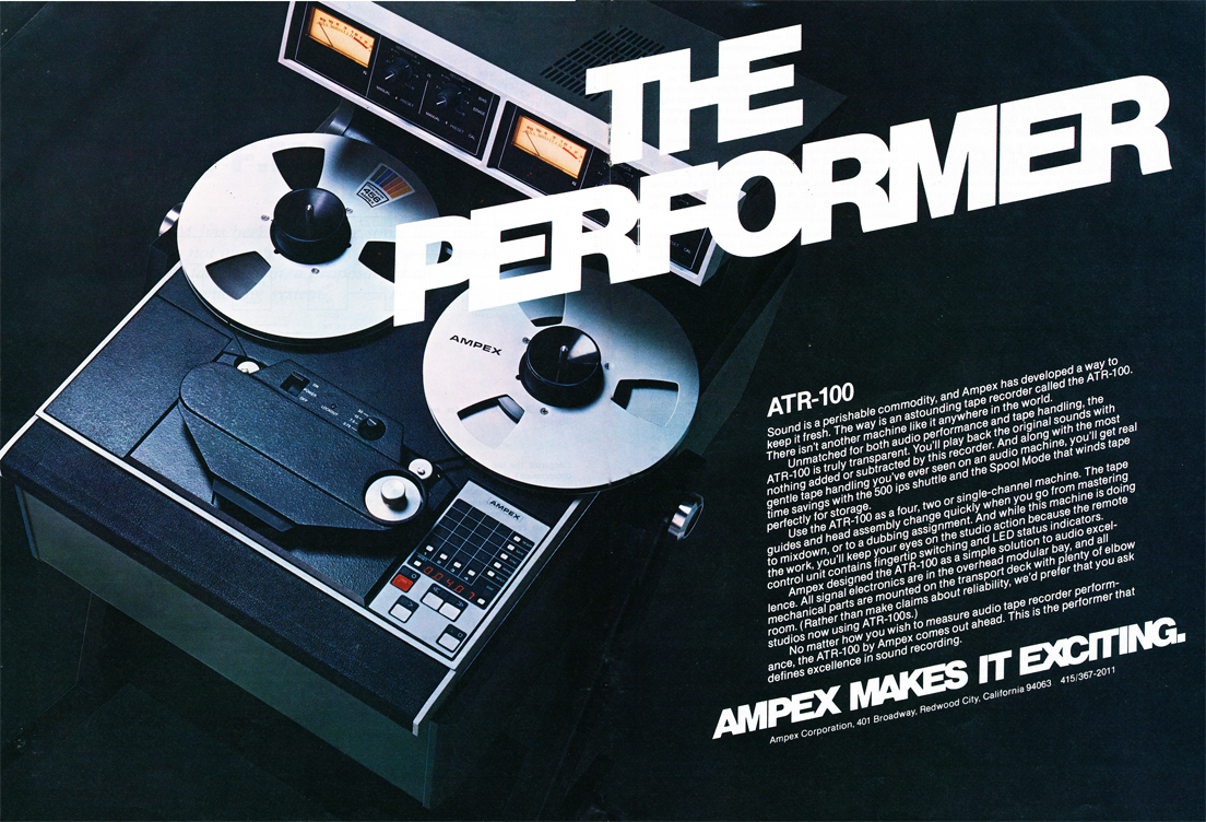 1978 ad for the Ampex ART 100 professional reel to reel tape recorder in Reel2ReelTexas.com's vintage recording collection