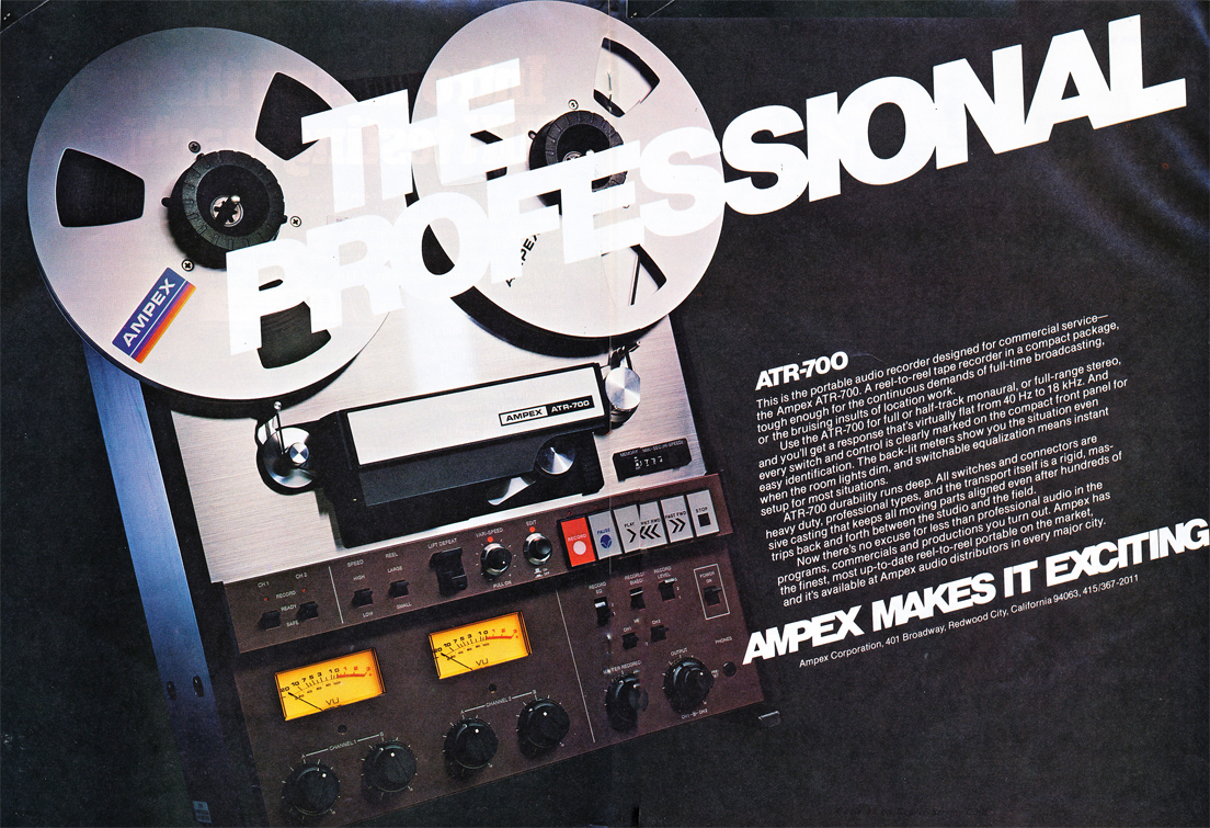1978 ad for the Ampex ART 700 professional reel to reel tape recorder in Reel2ReelTexas.com's vintage recording collection