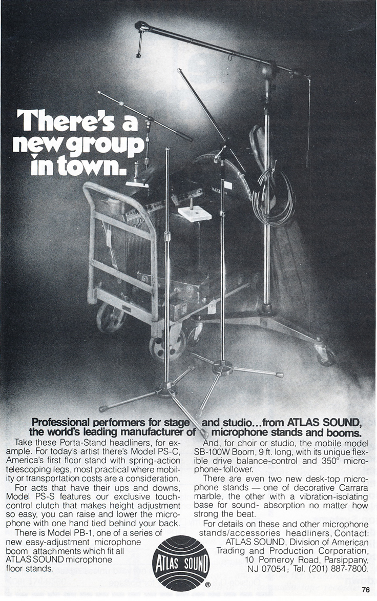 1978 ad for Atlas Sounds microphone stands in Reel2ReelTexas.com's vintage recording collection
