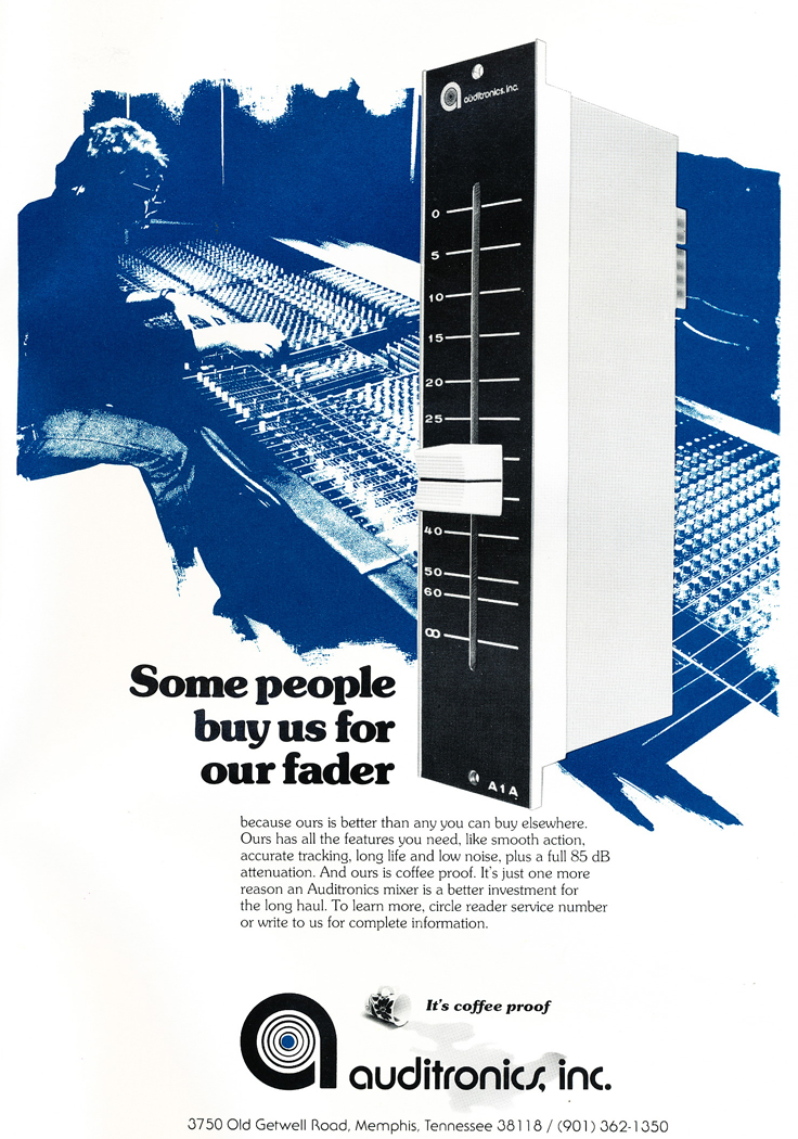 1978 ad for the Audiotronics console fader that is coffee proof in Reel2ReelTexas.com's vintage recording collection