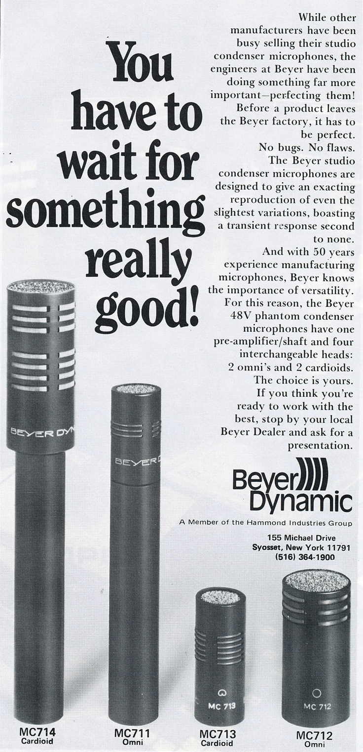 1978 ad for Beyer microphones in Reel2ReelTexas.com's vintage recording collection