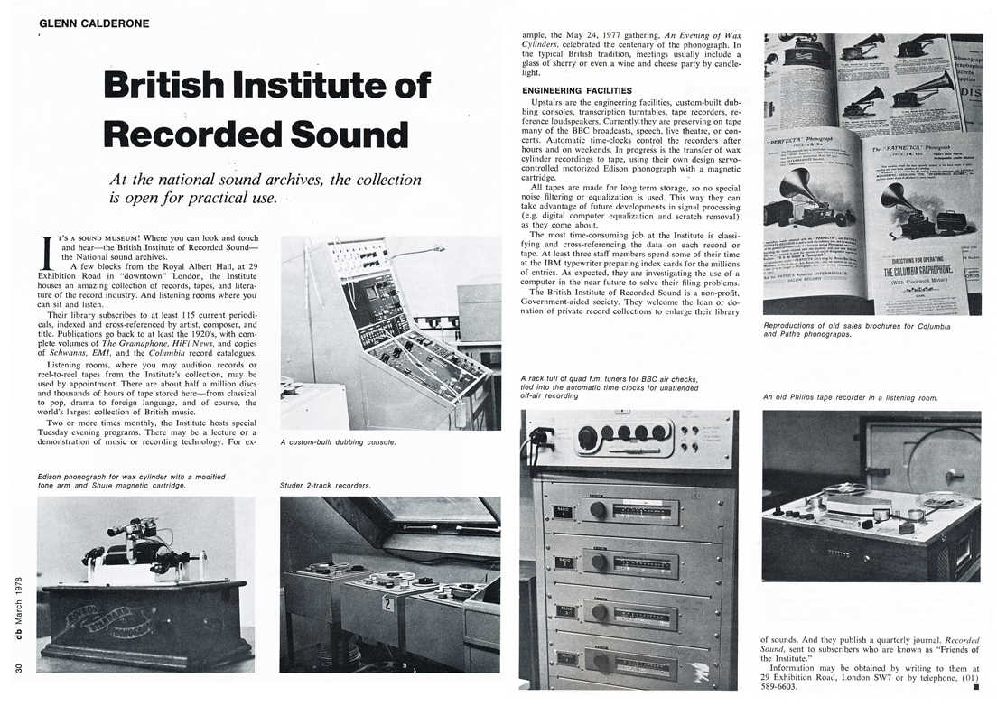 1978 article on the British Institute of Recorded Sound in Reel2ReelTexas.com's vintage recording collection