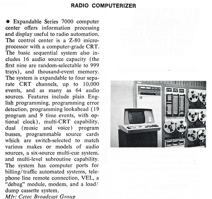 1978 review of the Cerec automated radio system featuring their reel tape recorders in Reel2ReelTexas.com's vintage recording collection
