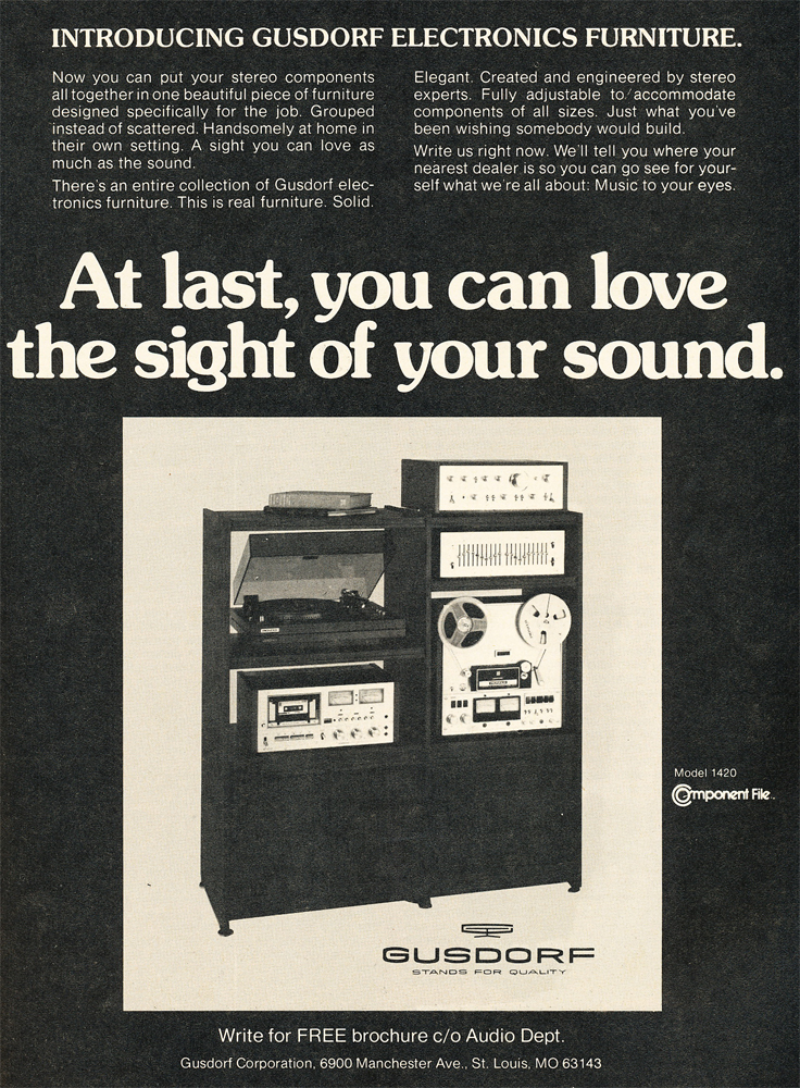 1978 ad for Gusdorf audio equipment furniture  in Reel2ReelTexas.com's vintage recording collection