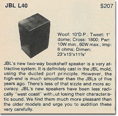 picture of 1978 JBL L40 information