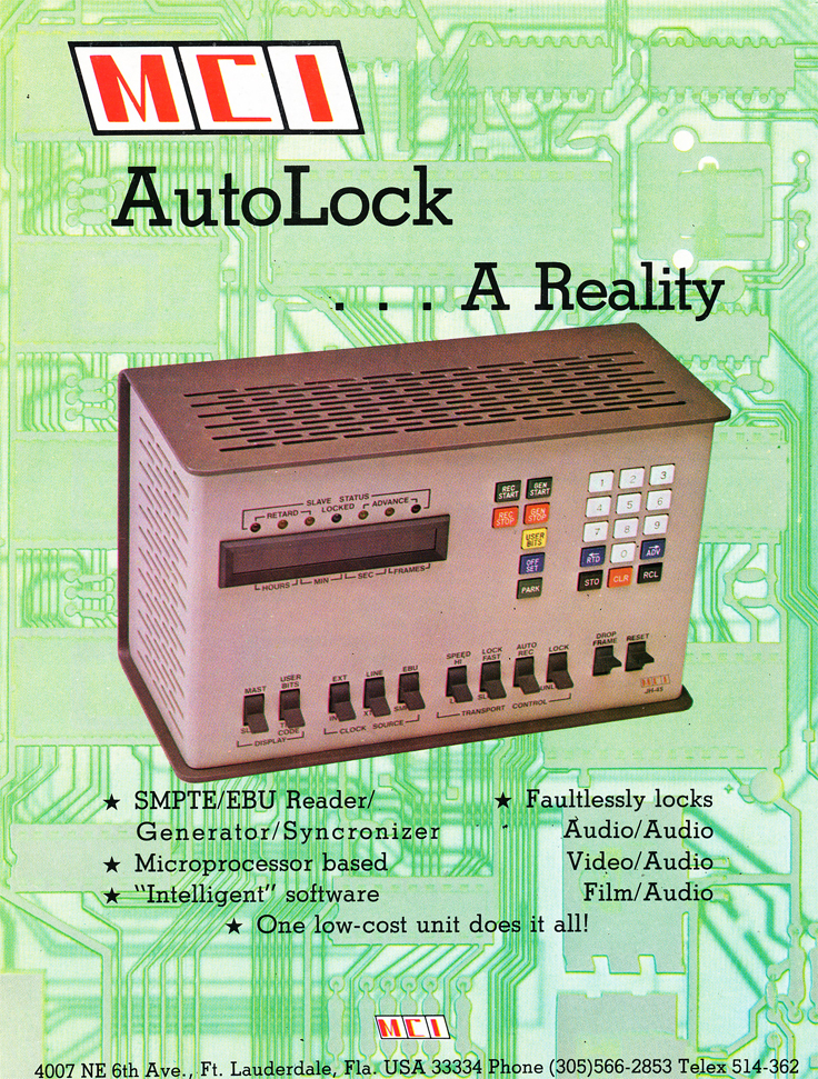 1978 ad for MCI AutoLock for their reel to reel tape recorders in Reel2ReelTexas' vintage recording collection