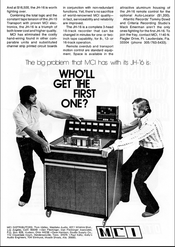 1978 ad for the MCI JH 16 professional reel to reel tape recorders in Reel2ReelTexas' vintage recording collection
