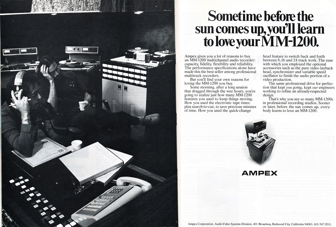 1978 ad for the Ampex MM-1200 professional reel to reel tape recorder in Phantom Productions' vintage rceording collection