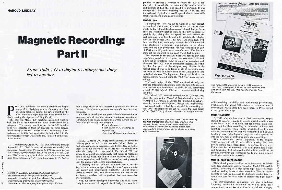 1978 db magazine article written by Harold Lindsey about Magnetic Recording in Reel2ReelTexas.com's vintage recording collection