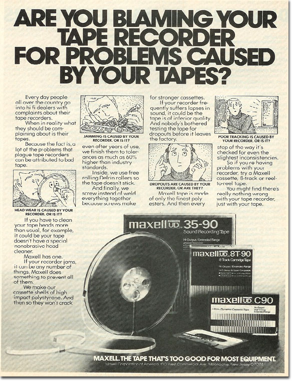 picture of 1978 Maxell tape ad