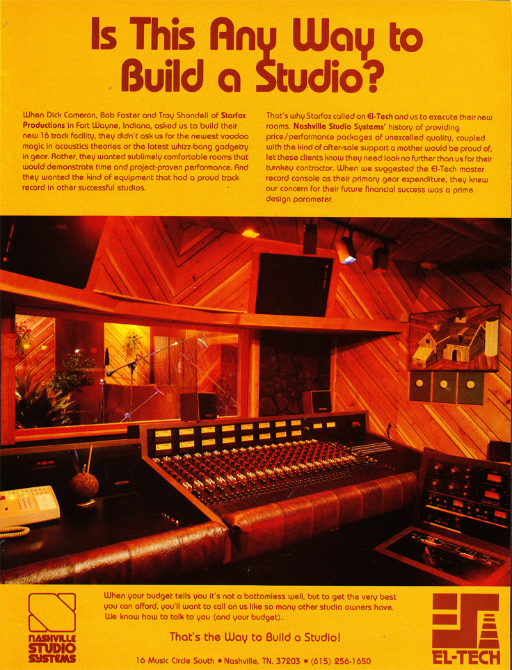 1978 ad for nashville recording studio design services