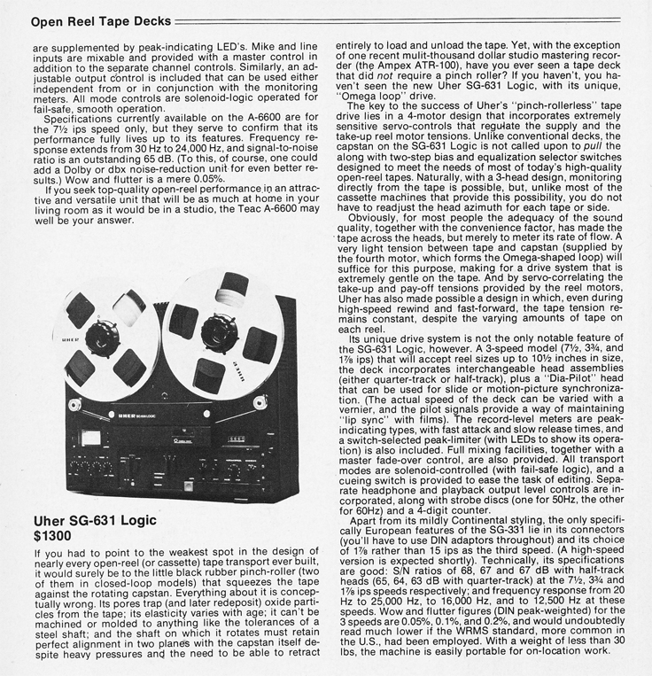 1978 Stereo HiFi Equipment Annual profiling the Uher SG-631 reel to rel tape recorder in Reel2ReelTexas' vintage recording collection