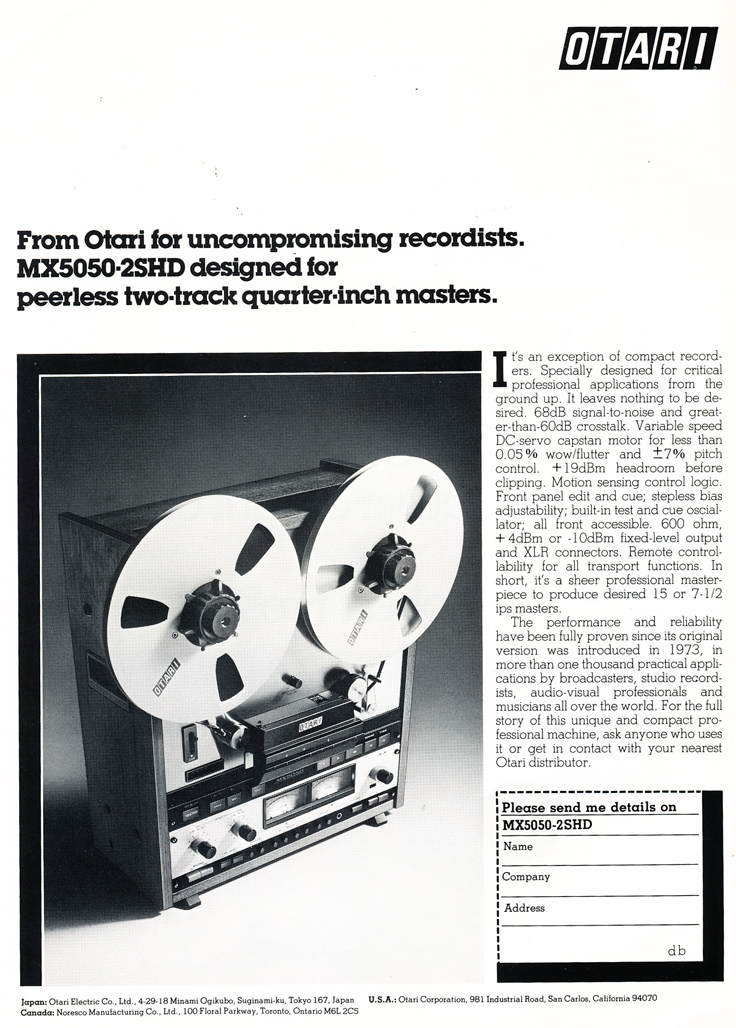 1978 ad for the Otari MX-5050 2SHD professional reel to reel tape recorder in Reel2ReelTexas.com's vintage recording collection