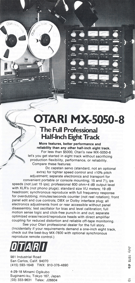 1978 ad for the Otari MX-5050 8 track reel to reel tape recorder in Reel2ReelTexas.com's vintage recording collection