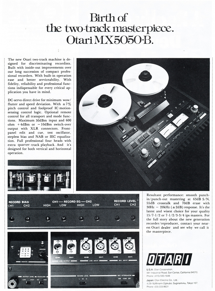 1978 ad for the Otari MX-5050B reel to reel tape recorder in Reel2ReelTexas.com's vintage recording collection