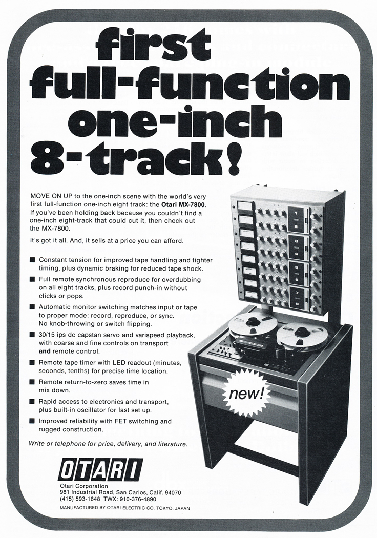 1978 ad for the Otari MX-7800 8 track professional reel to reel tape recorder in Reel2ReelTexas.com's vintage recording collection