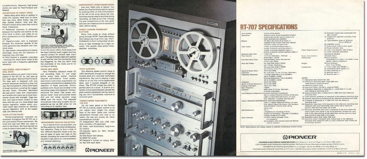 picture of 1978 Pioneer RT-707 brochure